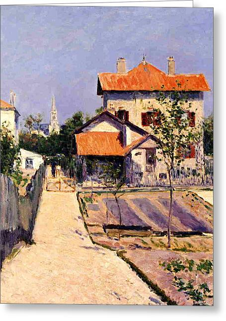 Patch Paintings Greeting Cards - The Artists House at Yerres Greeting Card by Gustave Caillebotte
