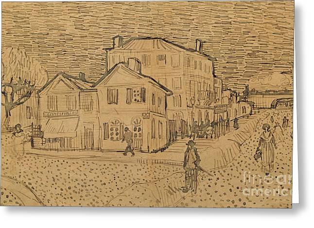 Scene Drawings Greeting Cards - The Artists House in Arles Greeting Card by Vincent Van Gogh