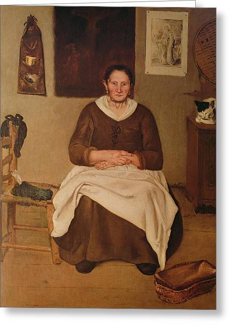 Chairs Greeting Cards - The Artists Mother Oil On Canvas Greeting Card by Antonio Puga