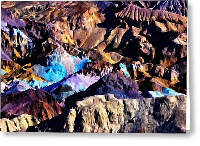 19th Century America Digital Art Greeting Cards - The Artists Palette Death Valley Greeting Card by  Bob and Nadine Johnston