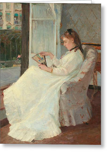 Absorb Paintings Greeting Cards - The Artists Sister at a Window Greeting Card by Berthe Morisot