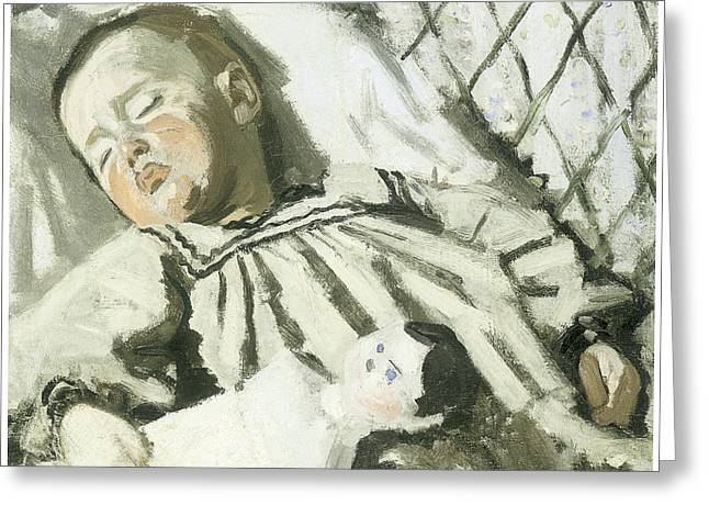 Impressionism Mixed Media Greeting Cards - The Artists Son Asleep Greeting Card by Claude Monet