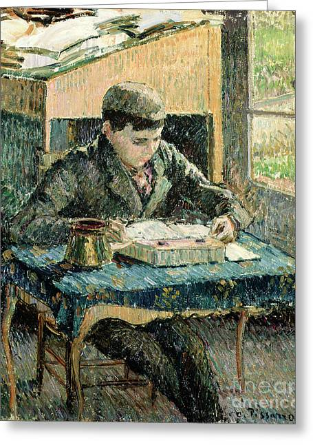 Teenage Greeting Cards - The Artists Son Greeting Card by Camille Pissarro
