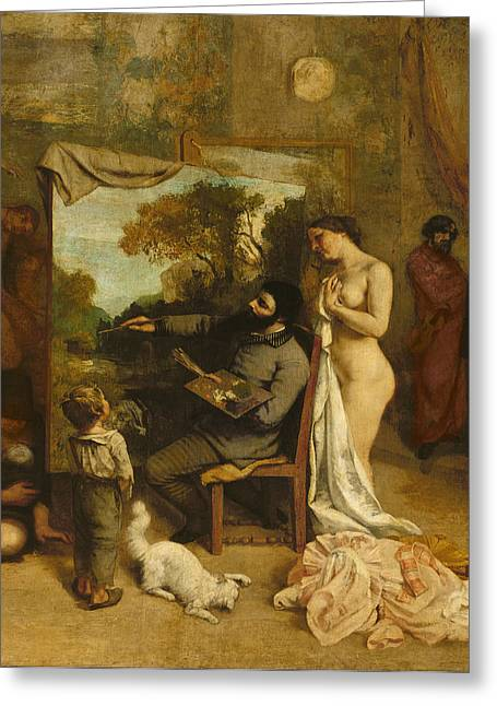 Atelier Greeting Cards - The Artists Studio, A Real Allegory, Detail Of The Painter And His Model, 1854-55 Oil On Canvas Greeting Card by Gustave Courbet