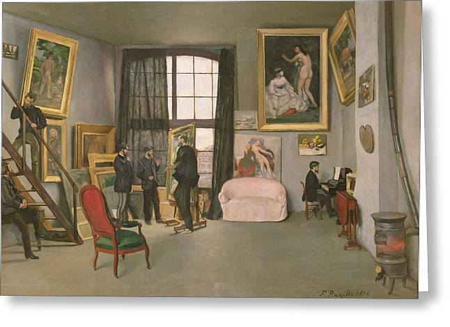 Window Frame Greeting Cards - The Artists Studio Greeting Card by Jean Frederic Bazille