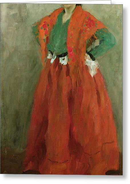Full-length Portrait Greeting Cards - The Artists Wife Dressed as a Spanish Woman Greeting Card by Alexej von Jawlensky