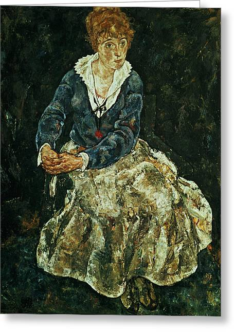Distortion Paintings Greeting Cards - The Artists Wife Seated Greeting Card by Celestial Images