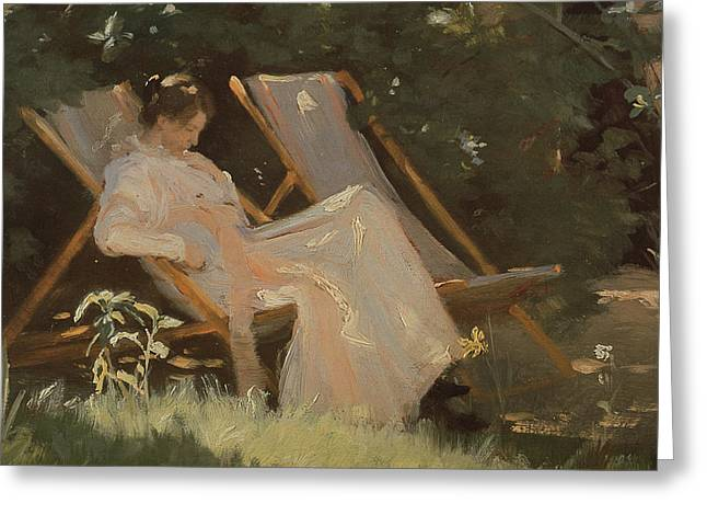 Dgt Greeting Cards - The Artists Wife Sitting In A Garden Chair At Skagen, 1893 Greeting Card by Peder Severin Kroyer
