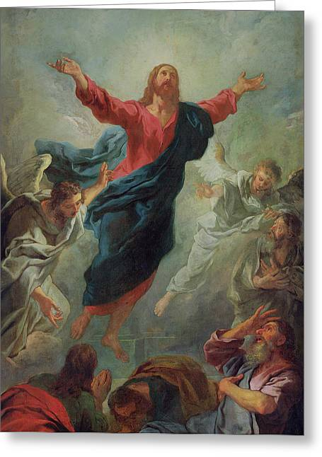 Gospel Greeting Cards - The Ascension Greeting Card by Jean Francois de Troy