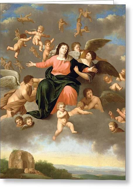 Sacred Paintings Greeting Cards - The Ascension of the Virgin Greeting Card by Daniel Vertangen