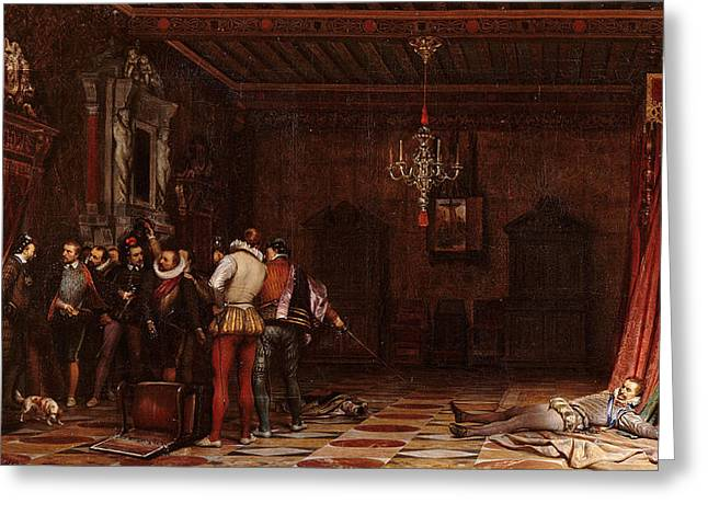 Guise Greeting Cards - The assassination of the Duke of Guise in Chateau de Blois Greeting Card by Paul Delaroche