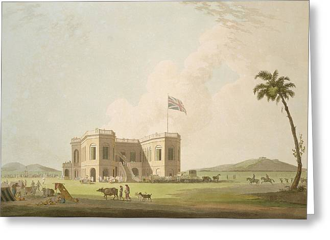 Colonial Architecture Greeting Cards - The Assembly Rooms On The Race Ground Greeting Card by Thomas Daniell