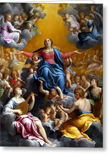 The Followers Digital Art Greeting Cards - The Assumption of the Virgin Mary Greeting Card by Guido Reni