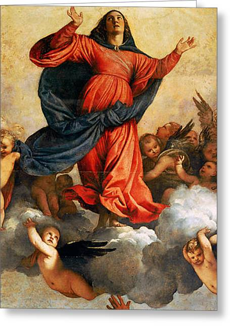 Flying Angel Greeting Cards - The Assumption of the Virgin Greeting Card by Titian