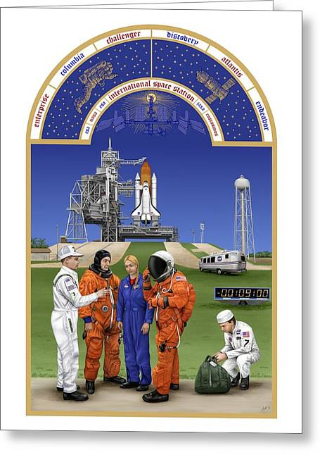 Art Book Greeting Cards - The Astronauts Book of Hours - The Space Shuttle Greeting Card by Tharsis  Artworks