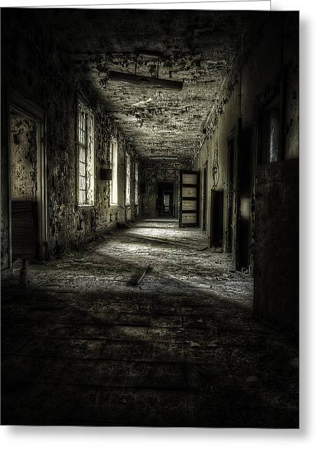 Abandoned Houses Greeting Cards - The Asylum Project - Corridor of Terror Greeting Card by Erik Brede