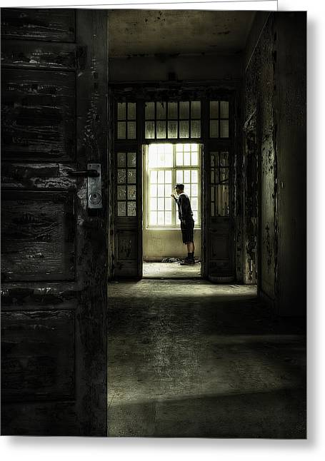 Rundown Greeting Cards - The Asylum Project - Looking out at the world Greeting Card by Erik Brede