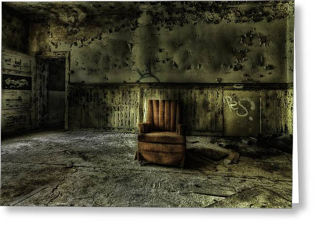 Discarded Greeting Cards - The Asylum Project - The Empty Chair Greeting Card by Erik Brede