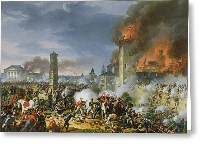 Ladder Greeting Cards - The Attack And Taking Of Ratisbon, 23rd April 1809, 1810 Oil On Canvas Greeting Card by Charles Thevenin