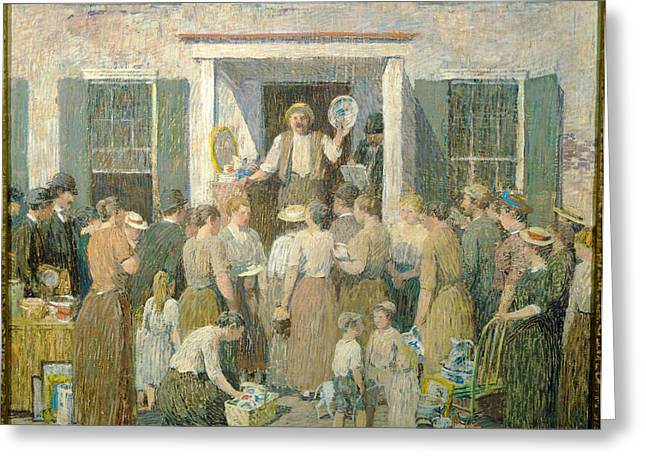The Auction Greeting Card by Robert Spencer