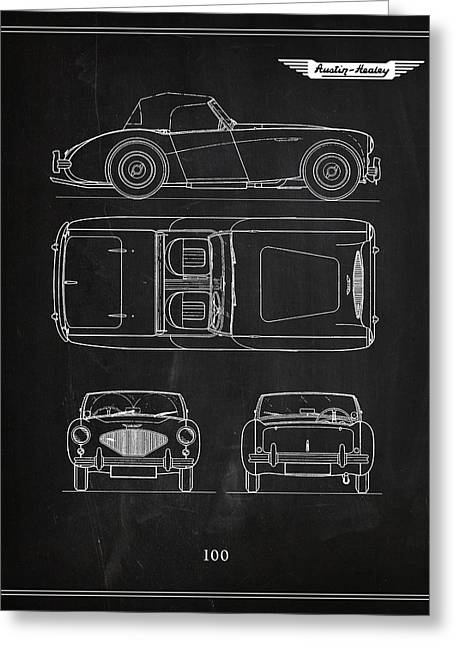 British Classic Cars Greeting Cards - The Austin-Healey 100 Greeting Card by Mark Rogan