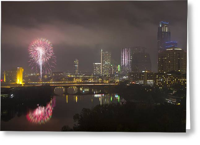 Austin Downtown Greeting Cards - Fireworks over the Austin Skyline 2 Greeting Card by Rob Greebon