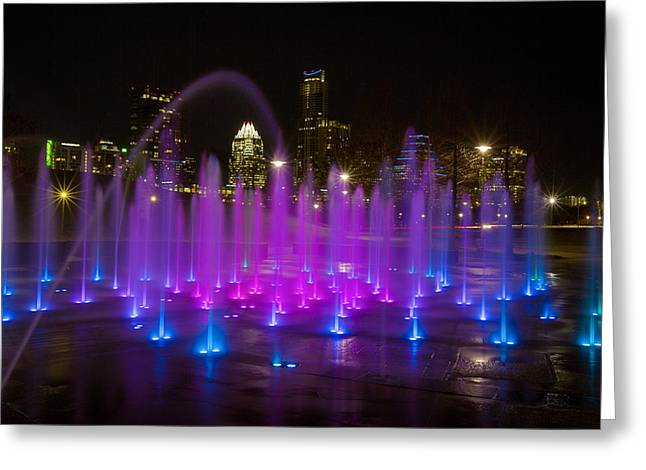 Austin Tx Greeting Cards - The Austin Skyline and the Liz Carpenter Fountain Greeting Card by Rob Greebon