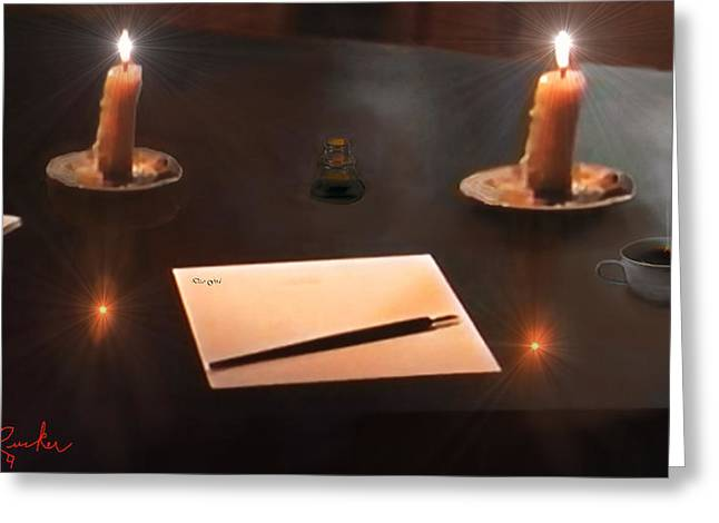 Candle Stand Greeting Cards - The Author Greeting Card by Michael Rucker