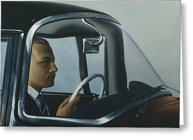 Driving Greeting Cards - The Automatic Oil On Canvas Greeting Card by Robert Burkall Marsh