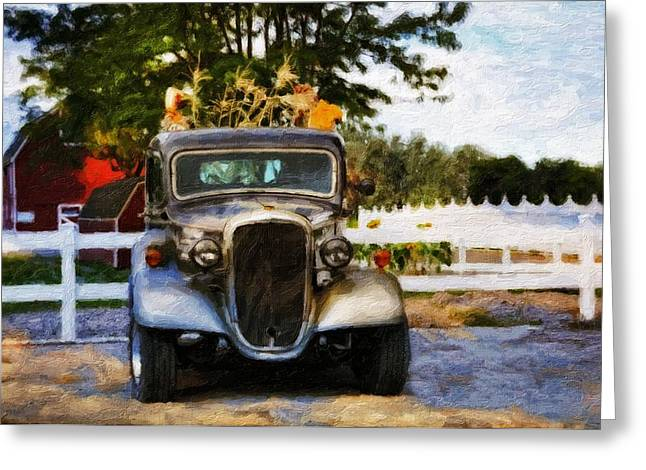 Truck Grill. Fence Greeting Cards - The Autumn Farm Greeting Card by Image Takers Photography LLC - Laura Morgan
