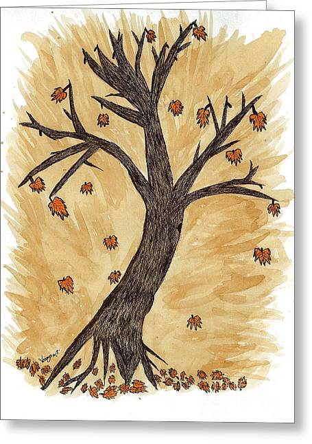 Colors Of Autumn Drawings Greeting Cards - The Autumn Forest Will Die Happily To Re-birth A Tree Created With Tea Greeting Card by Nikunj Vasoya
