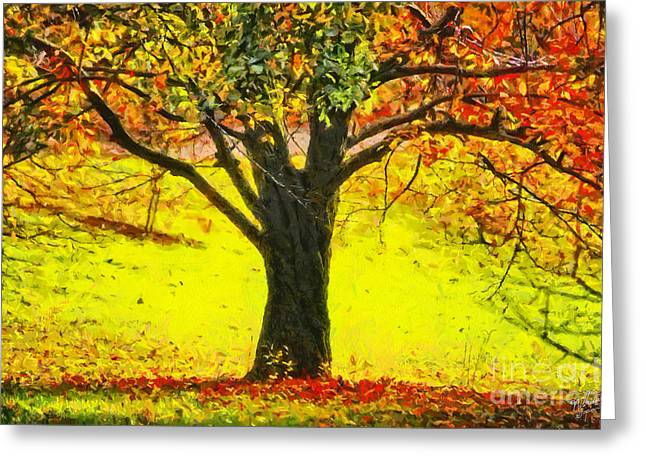 The Autumn Tree Greeting Card by Nishanth Gopinathan