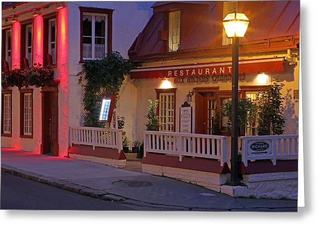 Quebec Restaurants Greeting Cards - The Aux Anciens Canadiens Greeting Card by Juergen Roth