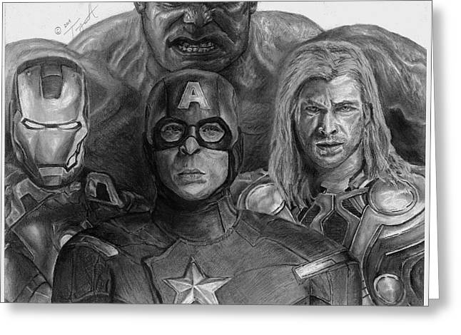Thor Drawings Greeting Cards - The Aveners Drawing Greeting Card by Tony Orcutt