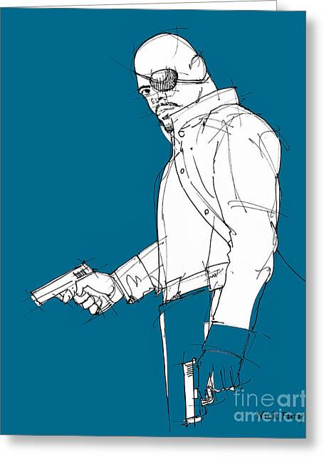 Avengers Drawings Greeting Cards - The Avengers - Nick Fury Greeting Card by Pablo Franchi
