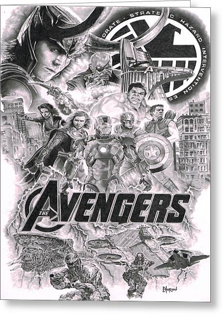 Thor Drawings Greeting Cards - The Avengers Greeting Card by David Horton