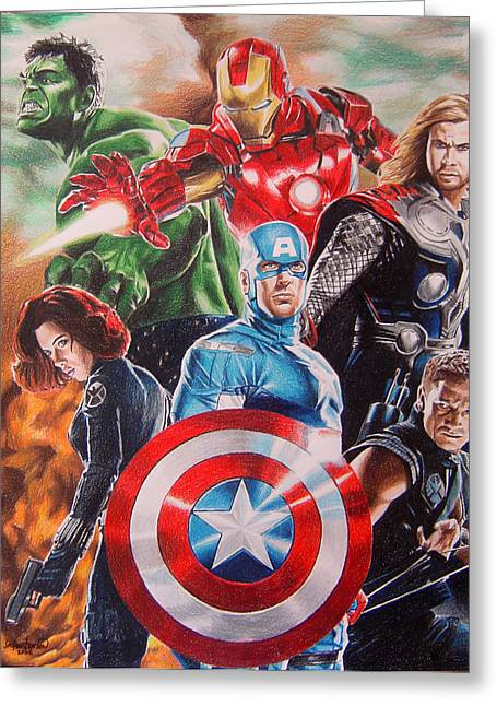 Thor Greeting Cards - The Avengers Greeting Card by Joseph Christensen