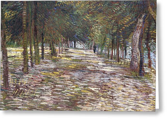 Dappled Light Greeting Cards - The Avenue at the Park Greeting Card by Vincent Van Gogh