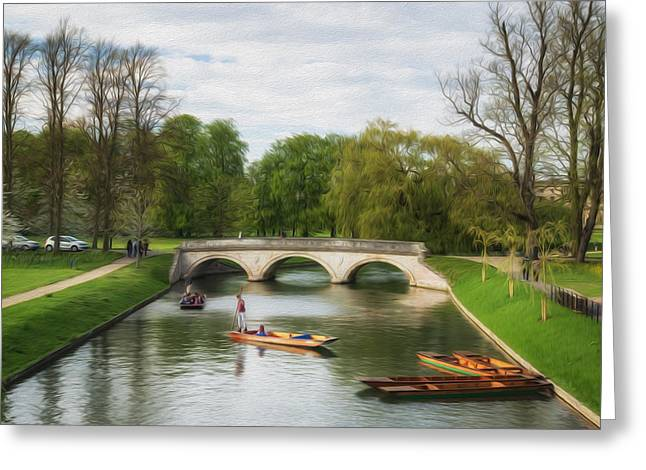 Gondolier Greeting Cards - The Avenue Bridge over River Cam in front of Trinity College Cambridge digital painting Greeting Card by Matthew Gibson