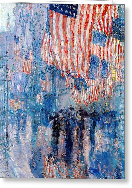 July Fourth Greeting Cards - The Avenue In The Rain Greeting Card by Frederick Childe Hassam