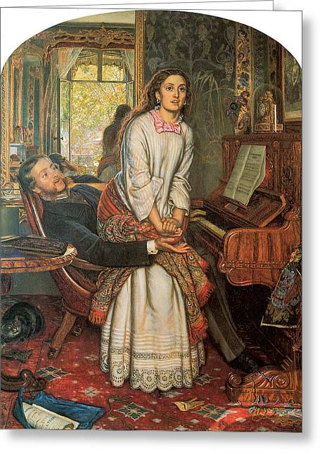 Conscience Greeting Cards - The Awakening Conscience Greeting Card by William Holman Hunt