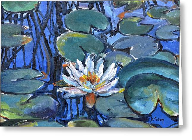 Lilly Pads Greeting Cards - The Awakening Greeting Card by Donna Tuten