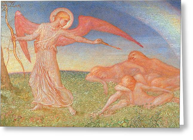 Guardian Angel Paintings Greeting Cards - The Awakening Greeting Card by Phoebe Anna Traquair