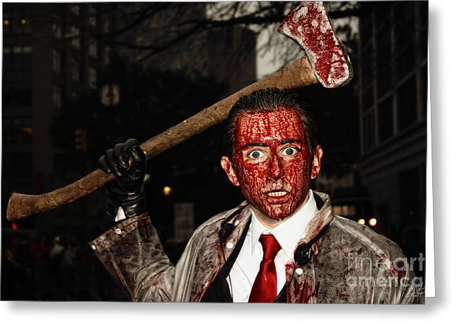 Gruesome Greeting Cards - The Axe Murderer Greeting Card by Nishanth Gopinathan