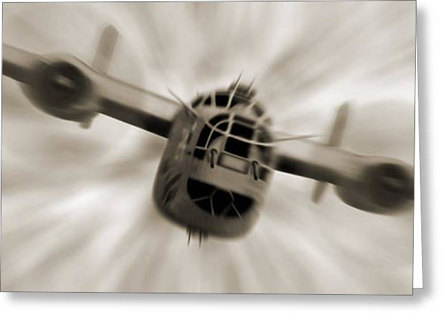White Digital Art Greeting Cards - The B - 24 Liberator Panoramic  Greeting Card by Mike McGlothlen