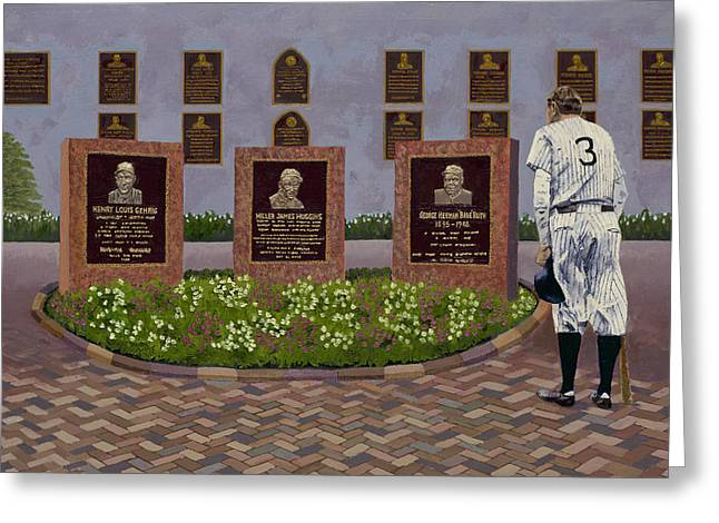 Baseball Stadiums Greeting Cards - The Babe at Monument Park Greeting Card by Ron Gibbs