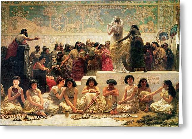 Iraq Paintings Greeting Cards - The Babylonian Marriage Market, 1875 Greeting Card by Edwin Longsden Long