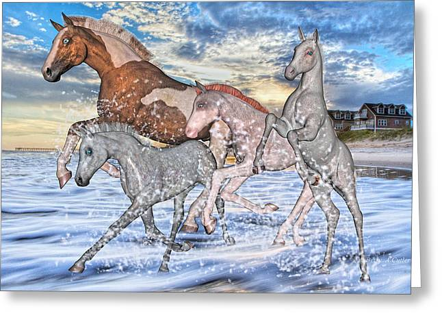 Paint Foal Greeting Cards - The Babysitter Greeting Card by Betsy C  Knapp