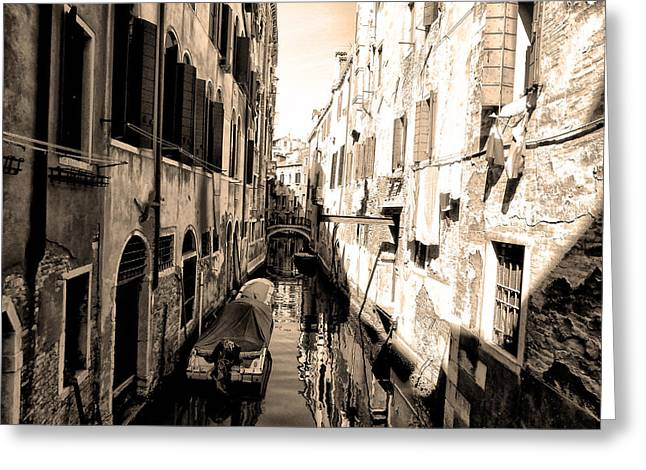 The Back Canals Of Venice Greeting Card by Bill Cannon