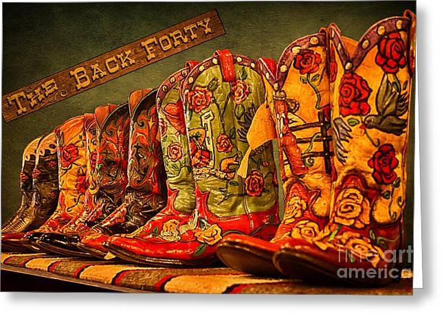 Fancy Boots Greeting Cards - The Back Forty Boots Are Made For Dancin Greeting Card by Priscilla Burgers